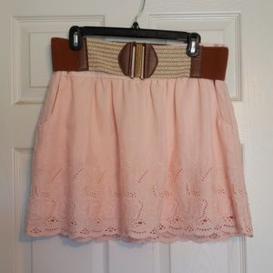 Pink skirt with belt and POCKETS! size xl